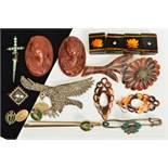 A SELECTION OF JEWELLERY, to include a marcasite eagle brooch, a square pietra dura floral brooch, a