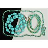 THREE TURQUOISE NECKLACES, to include a spherical bead necklace interspaced by small beads, a