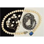 THREE CULTURED PEARL NECKLACES, to include a uniform row of dyed cultured pearls, a uniform cultured