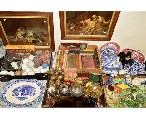 FIVE BOXES AND LOOSE SUNDRY CERAMIC, GLASS ITEMS etc, to include a pair of pictures 'Pugs and Puppies' and Pussy's family' pr