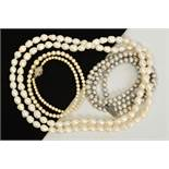 THREE CULTURED PEARL NECKLACES, the first a graduated row of spherical cultured pearls with a