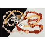 THREE GEM NECKLACES AND A PAIR OF GEM EARRINGS, to include an agate necklace with circular and