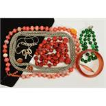 A SELECTION OF JEWELLERY, to include a dyed quartz bead necklace, a plastic bangle, a glass bead
