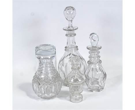 """Two Victorian decanters, a water / whisky carafe and pepper, tallest 28cm. (4)Replacement """"Famous Grouse"""" glass with carafe.C"""