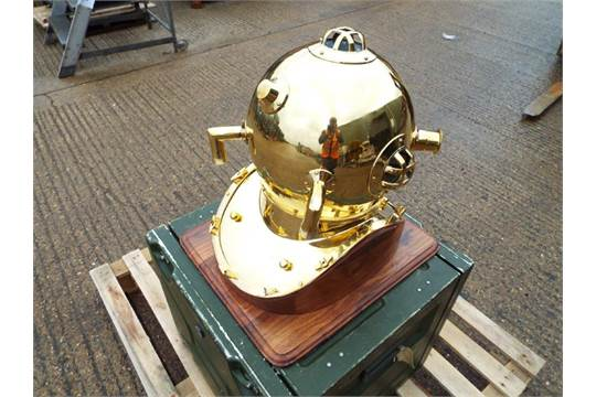 Replica Full Size U.S. Navy Mark V Brass Diving Helmet on Wooden Display Stand - Image 3 of 5