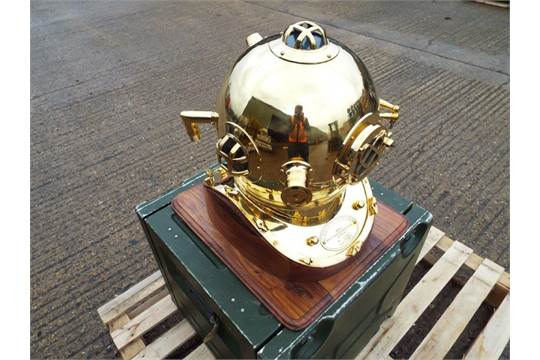 Replica Full Size U.S. Navy Mark V Brass Diving Helmet on Wooden Display Stand - Image 2 of 5