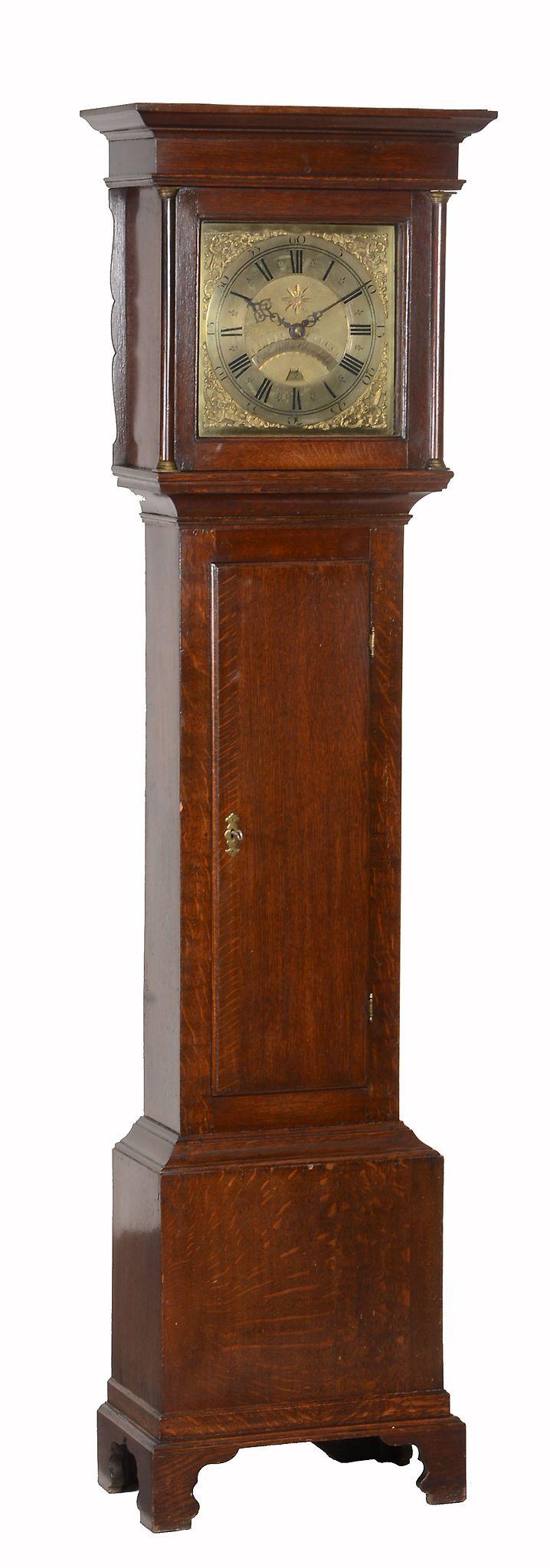 A George II oak thirty-hour longcase clock Edward Bilbie, Chew Stoke
