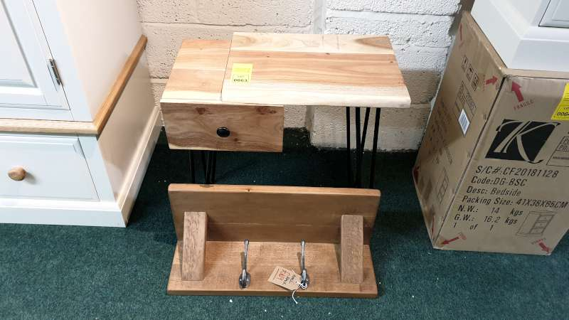 Lote 63 - WOODEN SIDE TABLE WITH DRAWER RRP £199 PLUS A WOODEN COAT HOOK SHELF RRP £69