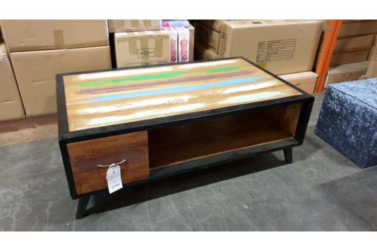 Lote 404 - BRAND NEW SOLID TEAK WOODEN WARNA 2 DRAWER COFFEE TABLE SIZE 120CM X 70CM X 45CM RRP 995.00 ( PLEASE