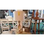 ATKINS WOODEN BASE LAMP WITH BEIGE SHADE RRP £129 AND A WOODEN LETTER RACK