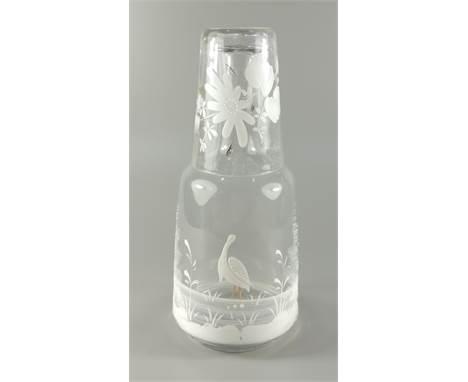 Karaffe mit Sturzbecher, Klarglas mit Schneemalerei, um 1890, Karaffe mit Abriss, Trinkglas mit ausgeschliffenem Abriss, H.23