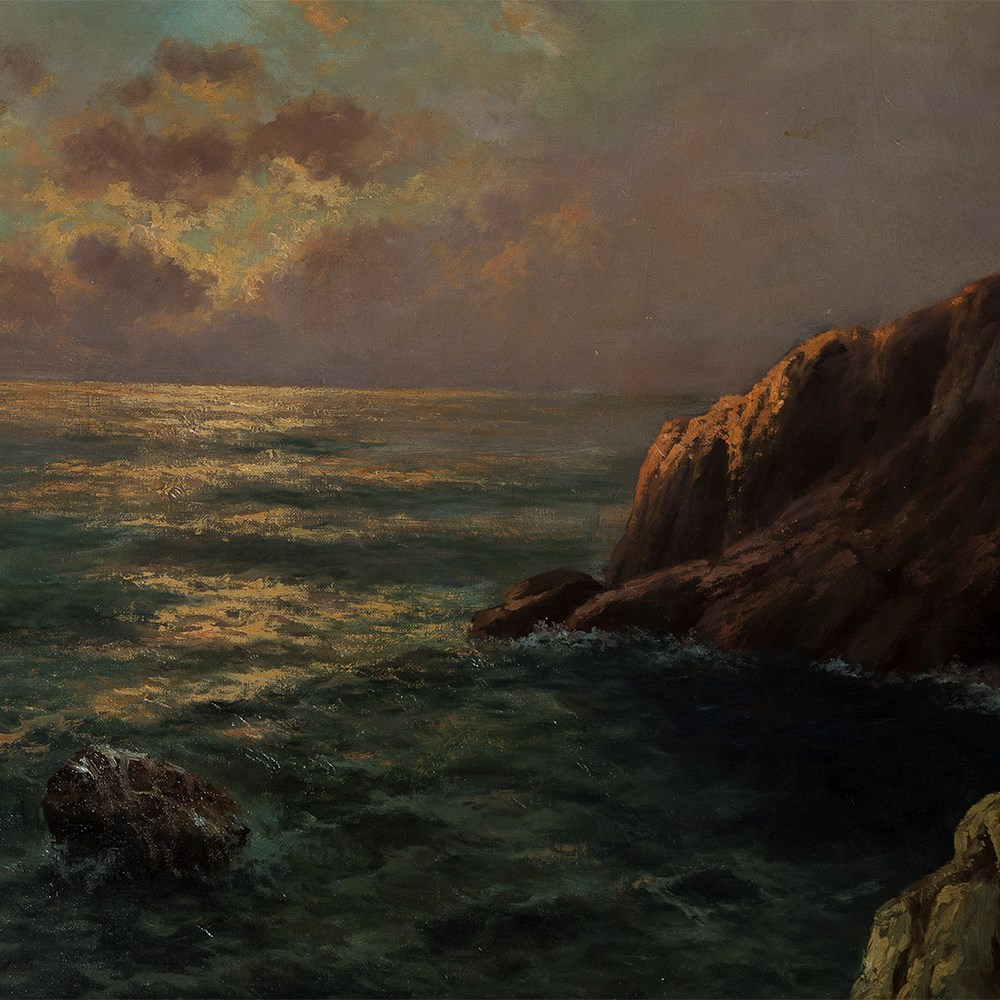 Lot 5 - Franz Seidel (1818-1903), Dawn over Cliff, Oil Painting, 19th C Oil on canvasGermany, late 19th