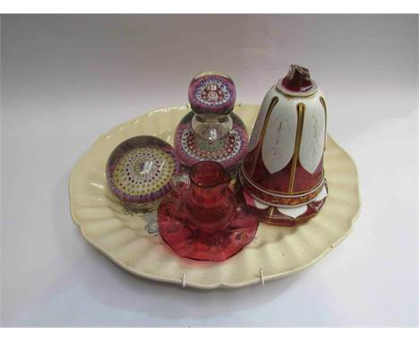 Royal Doulton: The Kirkwood platter along with two pieces of millefiori glass etc a/f