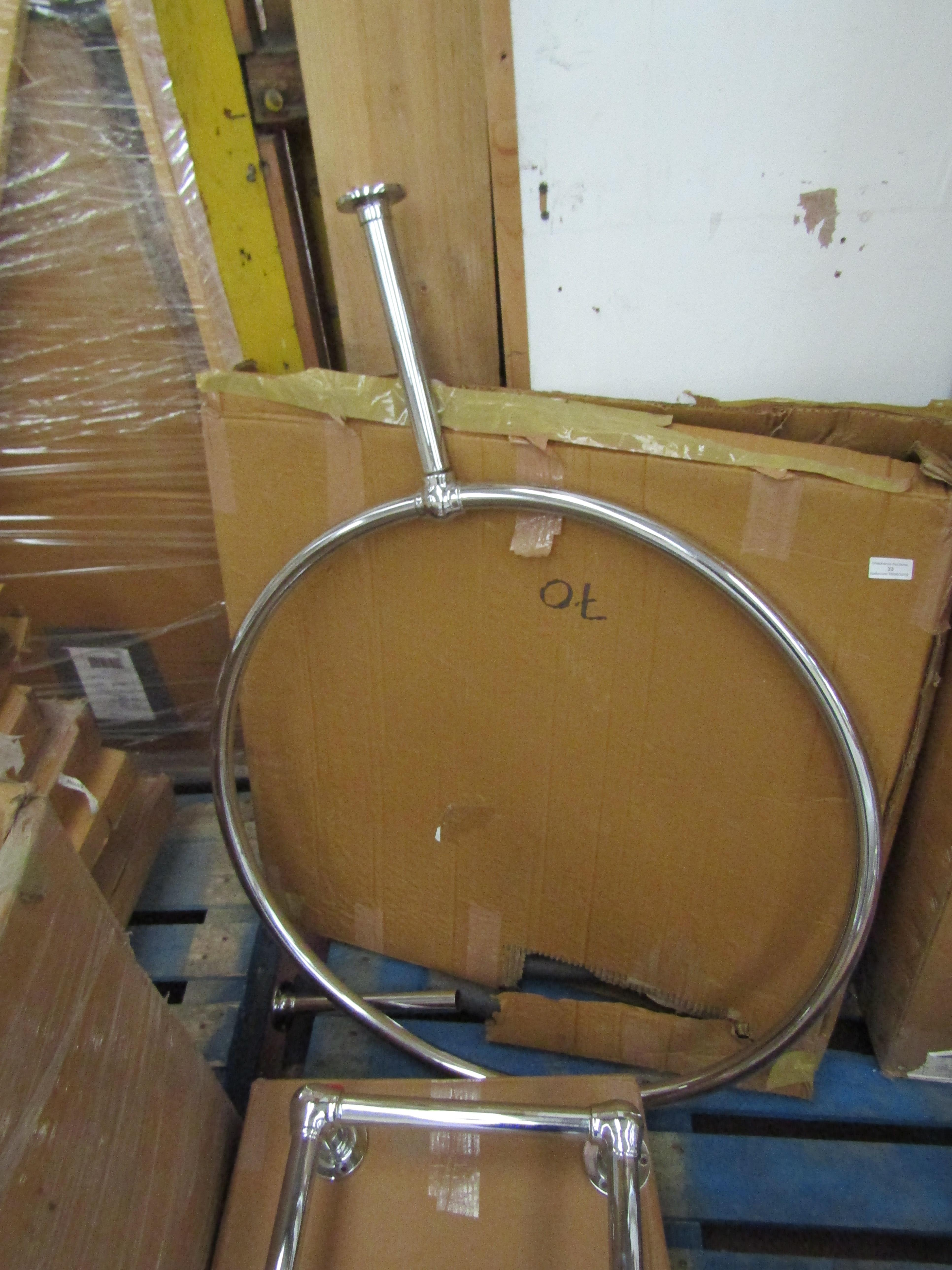 Chrome Circular over bath shower rail, come with both legs and boxed, the diameter of the actual