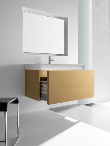 Roca Stratum wall hung vanity unit? with built in under sink lighting system- oak, 885 x 445 x