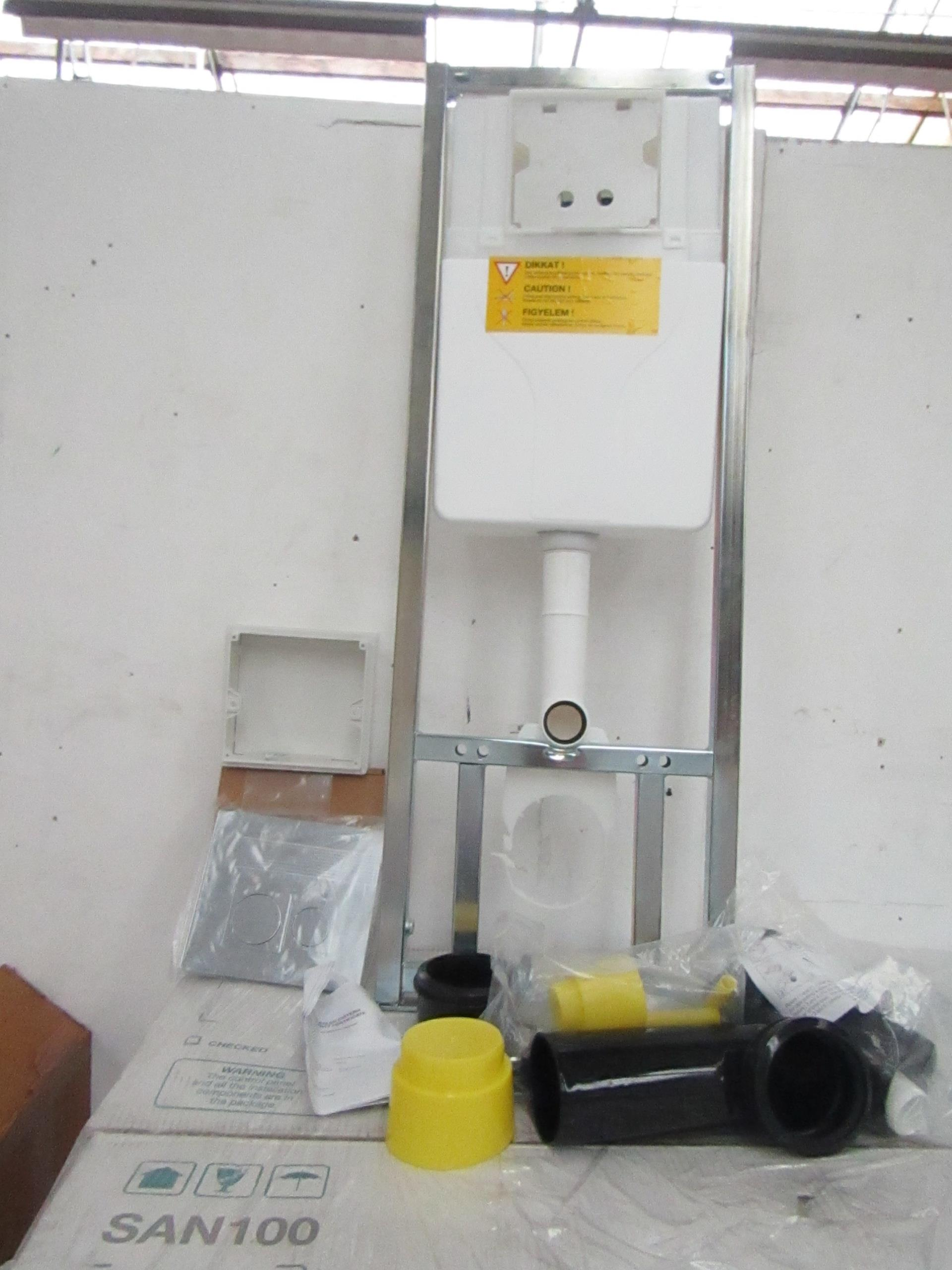 SAN100 Wall or Floor mounted toilet frame with concealed cistern and dual flush plate included,