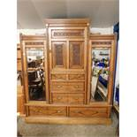 19TH CENTURY WALNUT COMPENDIUM WARDROBE, CENTRALLY FITTED WITH SINGLE CARVED PANELLED DOOR OVER
