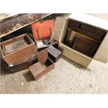 GROUP CONTAINING A QUANTITY OF MIXED 19TH CENTURY TABLE TOP BOXES, DRAWERS ETC, ALL A/F