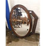 OAK HEXAGONAL FRAMED WALL MIRROR AND A FURTHER OVAL WALL MIRROR (2)