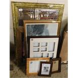 GILT FRAMED WALL MIRROR, ASSORTED PICTURE FRAMES, PRINTS ETC