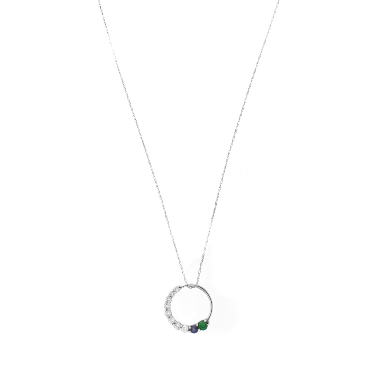 Lot 101 - Diamond, Gemstone and 14K Pendant Necklace