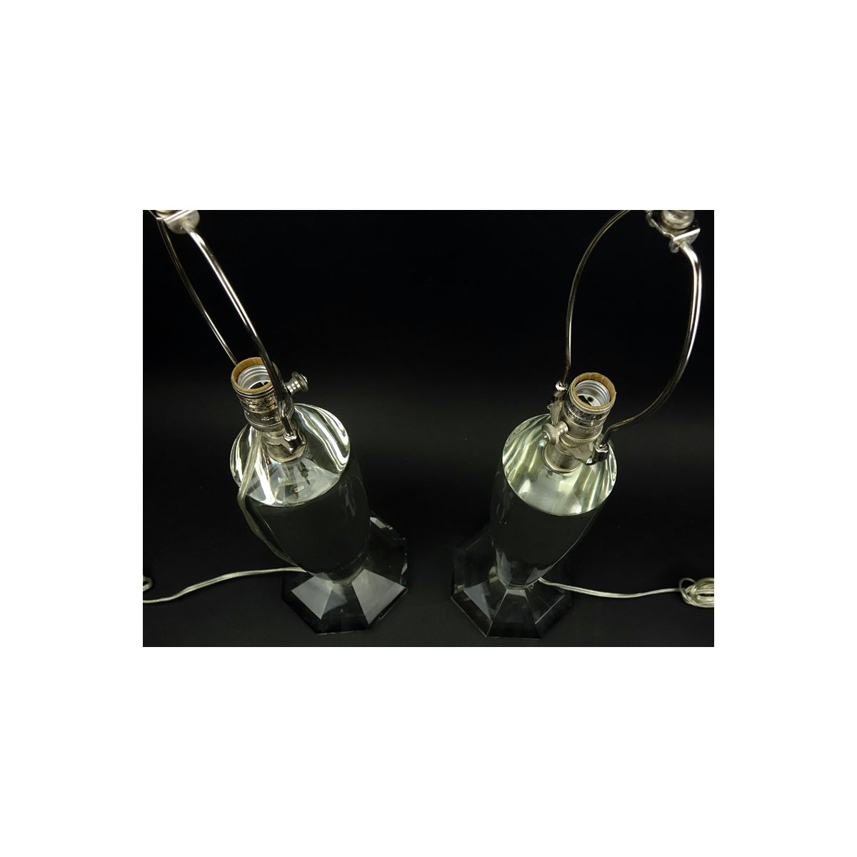 Lot 114 - Pair of Visual Comfort & Co. Clear Crystal Lamps