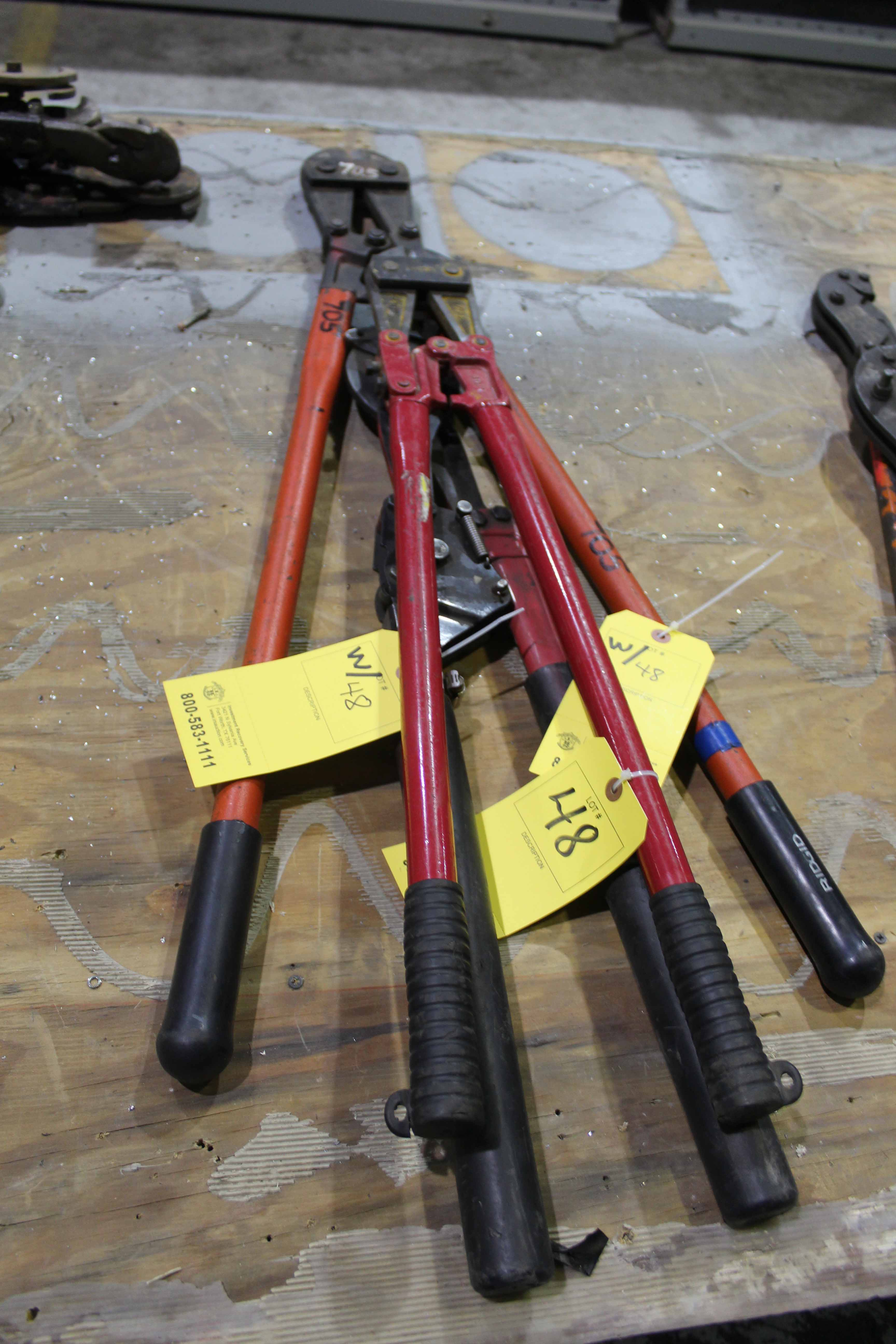 Lot 48 - LOT OF BOLT CUTTERS, assorted