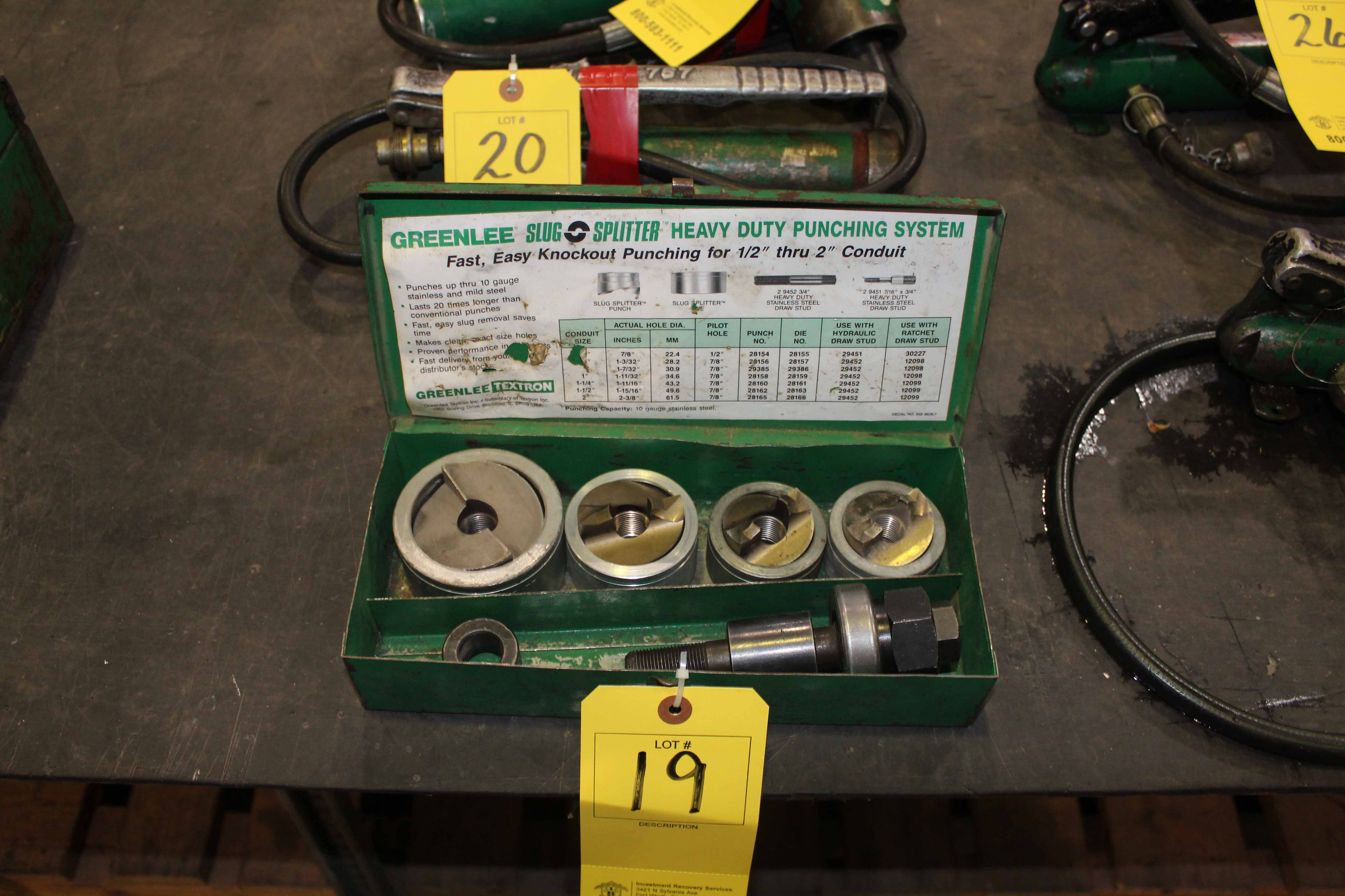 Lot 19 - KNOCKOUT PUNCH SET, GREENLEE