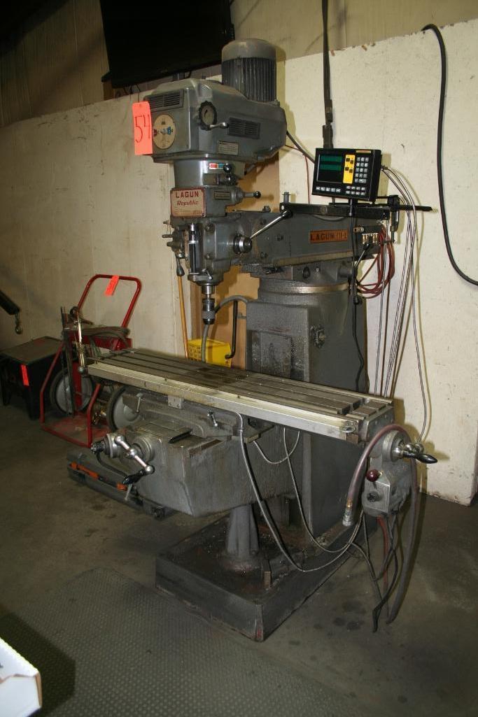 """Lagun Vertical Mill Power Cross Feed Model FTV-2, DRO, 9""""x48"""" Table, Vari-Speed, 220/440 - Image 2 of 6"""