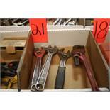 "(2) 12"" Adjustable Wrench, (1) 10"" Adjustable wrench, (1) 14"" Pipe Wrench"