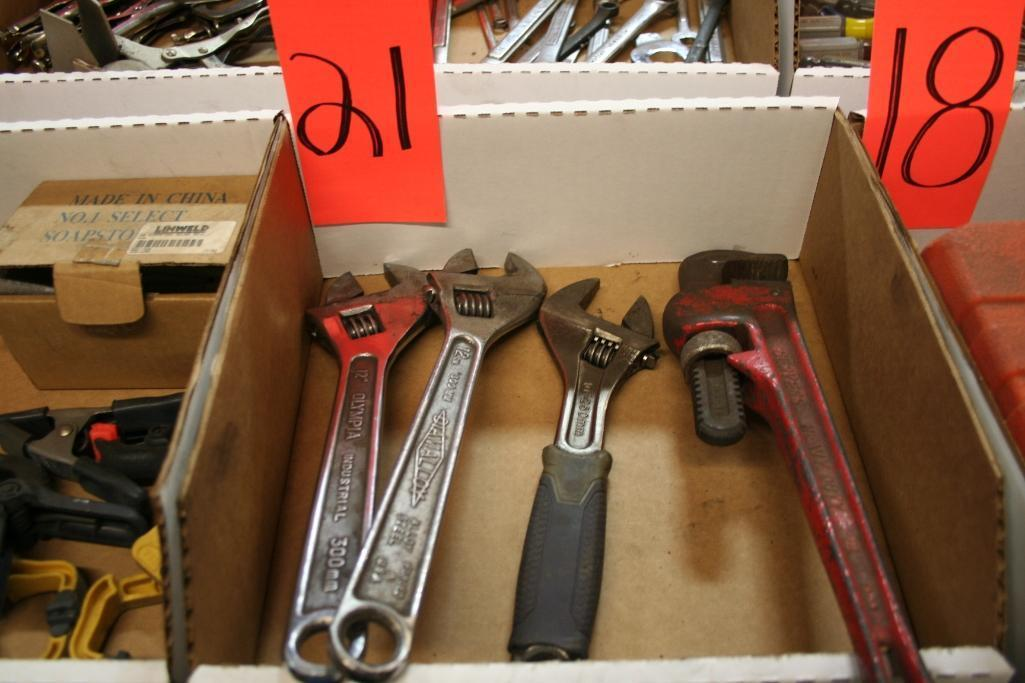 "Lot 21 - (2) 12"" Adjustable Wrench, (1) 10"" Adjustable wrench, (1) 14"" Pipe Wrench"