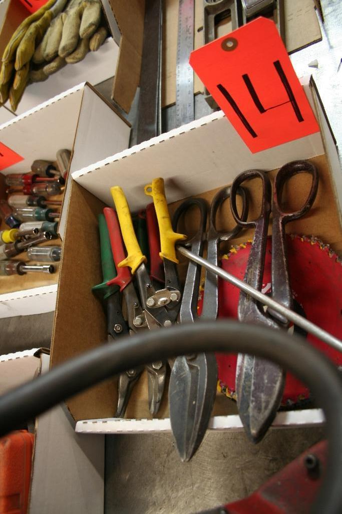 Box of Tin Snips and Saw Blades