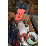 Box of Putty Knoves, Tape, Razor Knife and Oil Cans