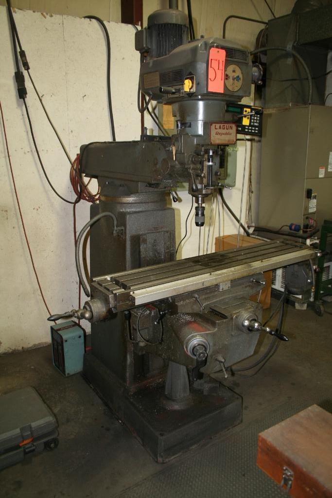 """Lagun Vertical Mill Power Cross Feed Model FTV-2, DRO, 9""""x48"""" Table, Vari-Speed, 220/440"""
