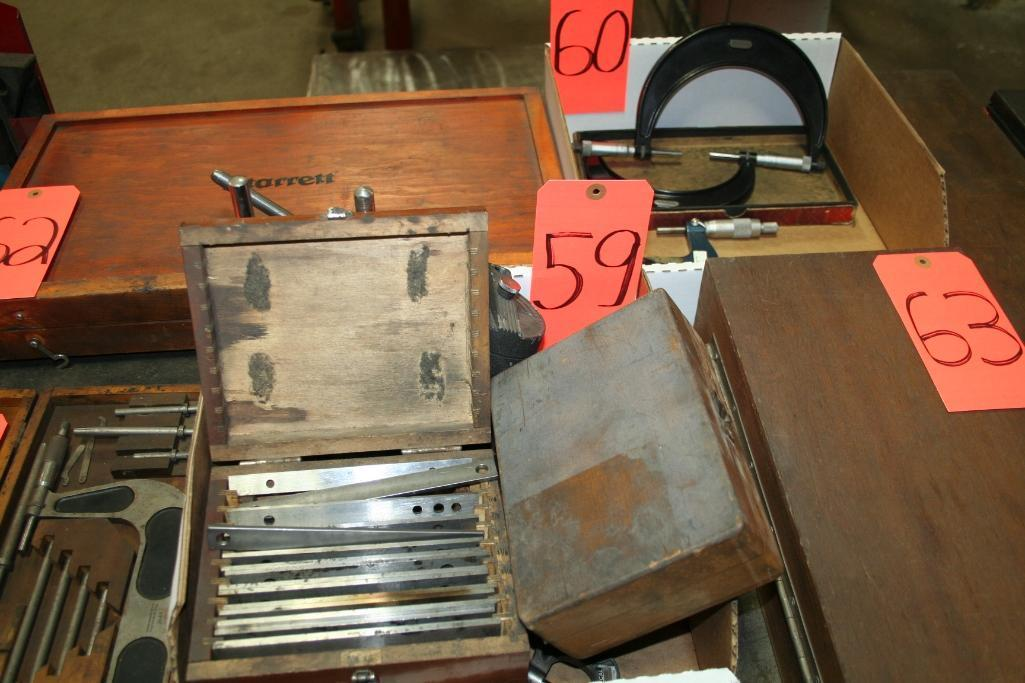 Box of Dial Stands, Callipers, Set Up Blocks, Parallel