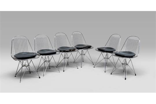 Sei sedie di charles and ray eames modello wire chair del con