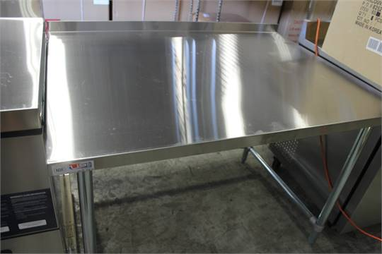 X Stainless Steel Work Table With Back Splash And U - 36 x 48 stainless steel table