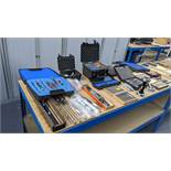 Contents of a table of assorted Metrology & other measuring related ancillaries
