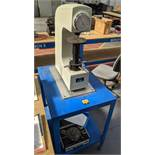 Oxford Precision model HR-150A Rockwell hardness tester on dedicated table plus case of