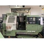 "OKUMA LB-15II-MW CNC TURNING CENTER, X-AXIS TRAVEL: 5.91"", Z-AXIS TRAVEL: 20.47"", SWING OVER BED: 15"