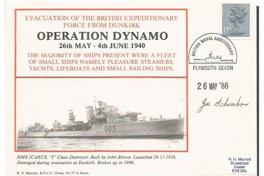 Operation Dynamo Dunkirk Evacuation Navy cover 1986 No  57 signed by