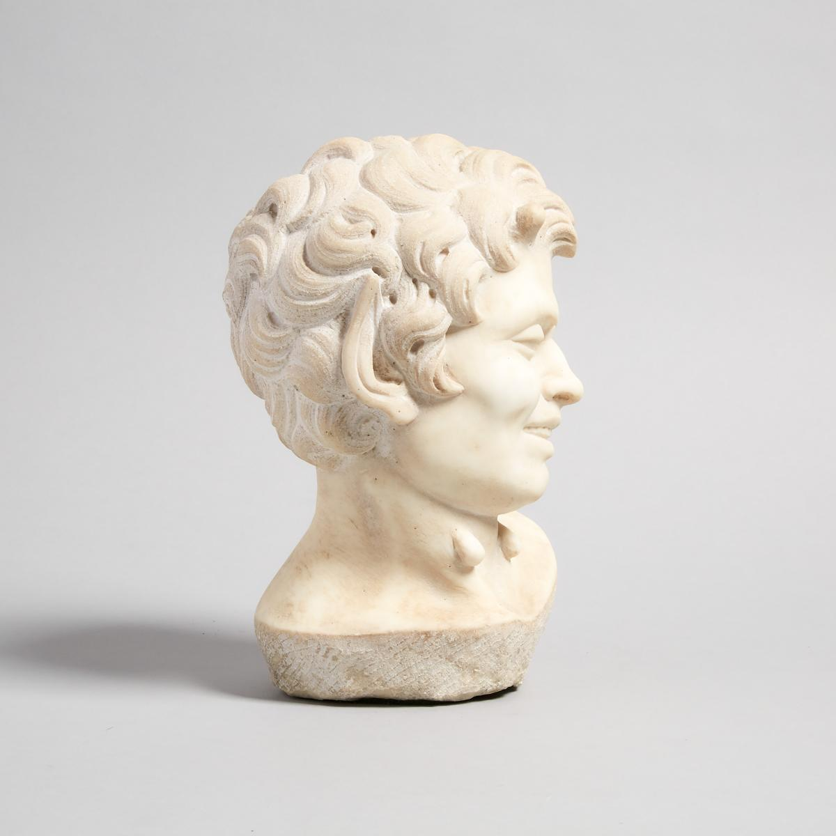After the Ancient Carved Marble Head of a Satyr, 19th/early 20th century, height 10.25 in — 26 cm - Image 2 of 2