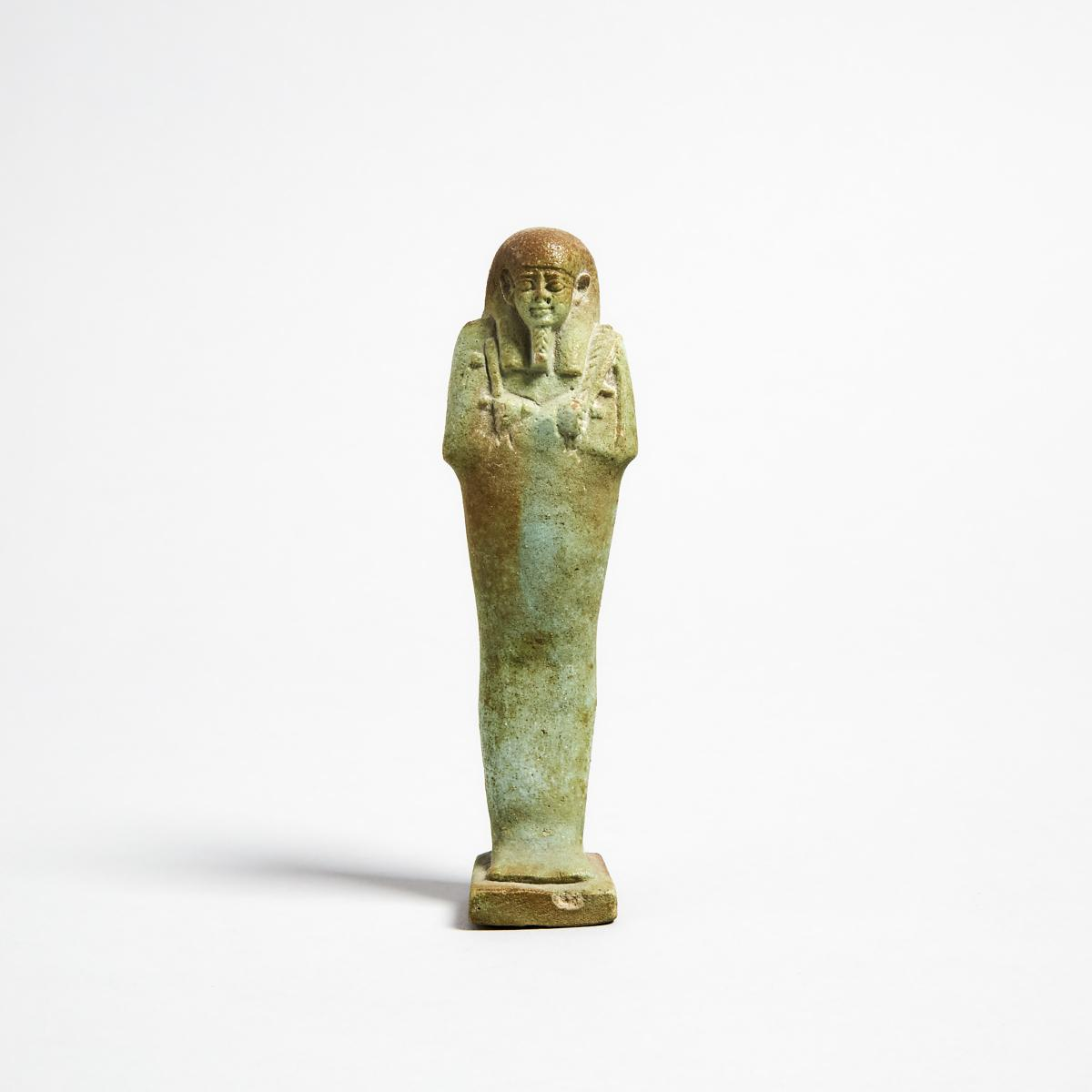 Egyptian Turquoise Faience Shabti, Late Period, 664-332 B.C., height 5.1 in — 13 cm