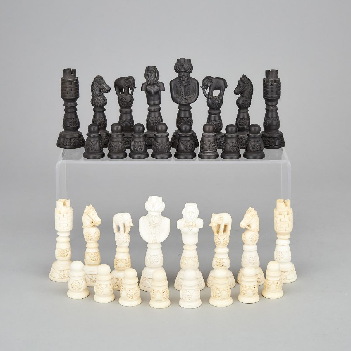 Turkish Turned and Carved Meerschaum Chess Set, early-mid 20th century, King height 4.5 in — 11.4 cm