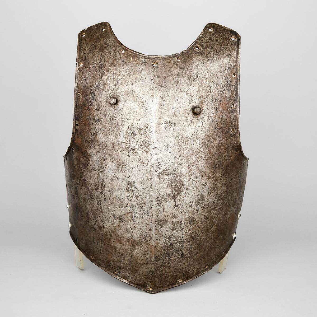 North European Breastplate, early/mid 17th century, height 19 in — 48.3 cm