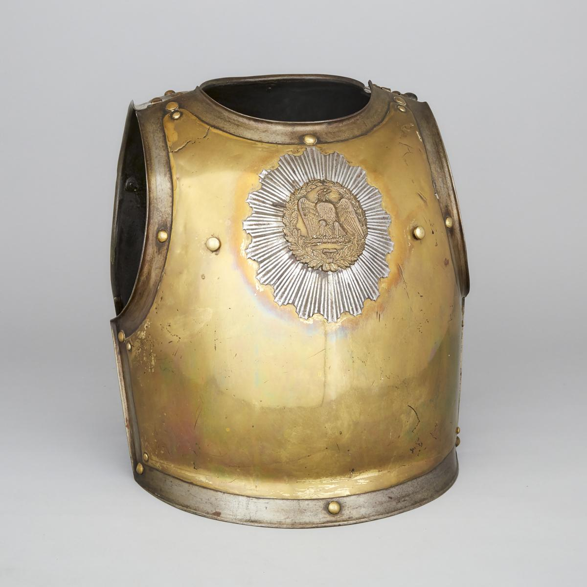 French Carabinier-a-Cheval Officer's Cuirass, Klingenthal Armory, 1832, height 17.5 in — 44.5 cm (2