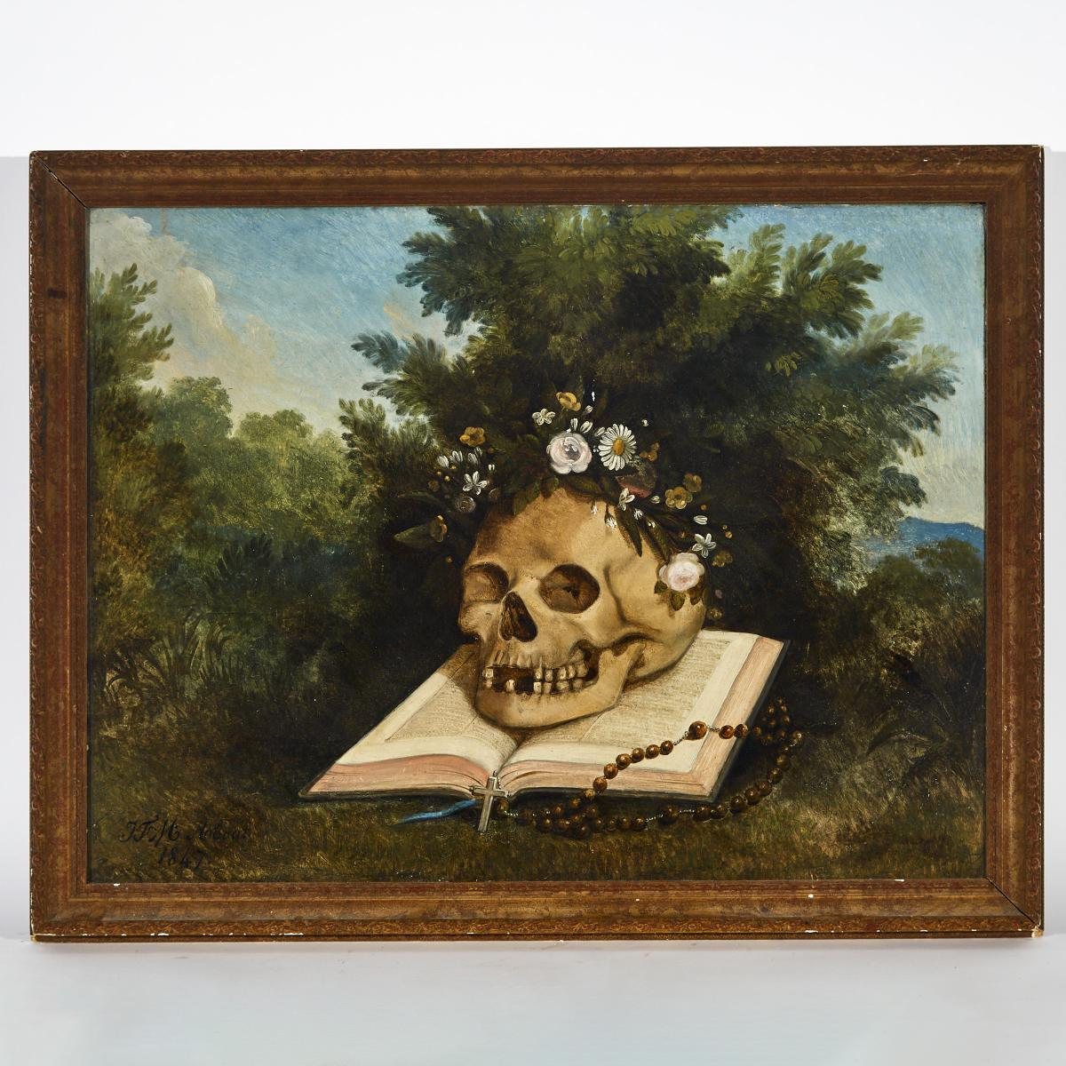 Victorian Memento Mori School Painting, 1847, SKULL ON BIBLE WITH ROSARY, 22.5 x 28.25 in — 57.2 x 7