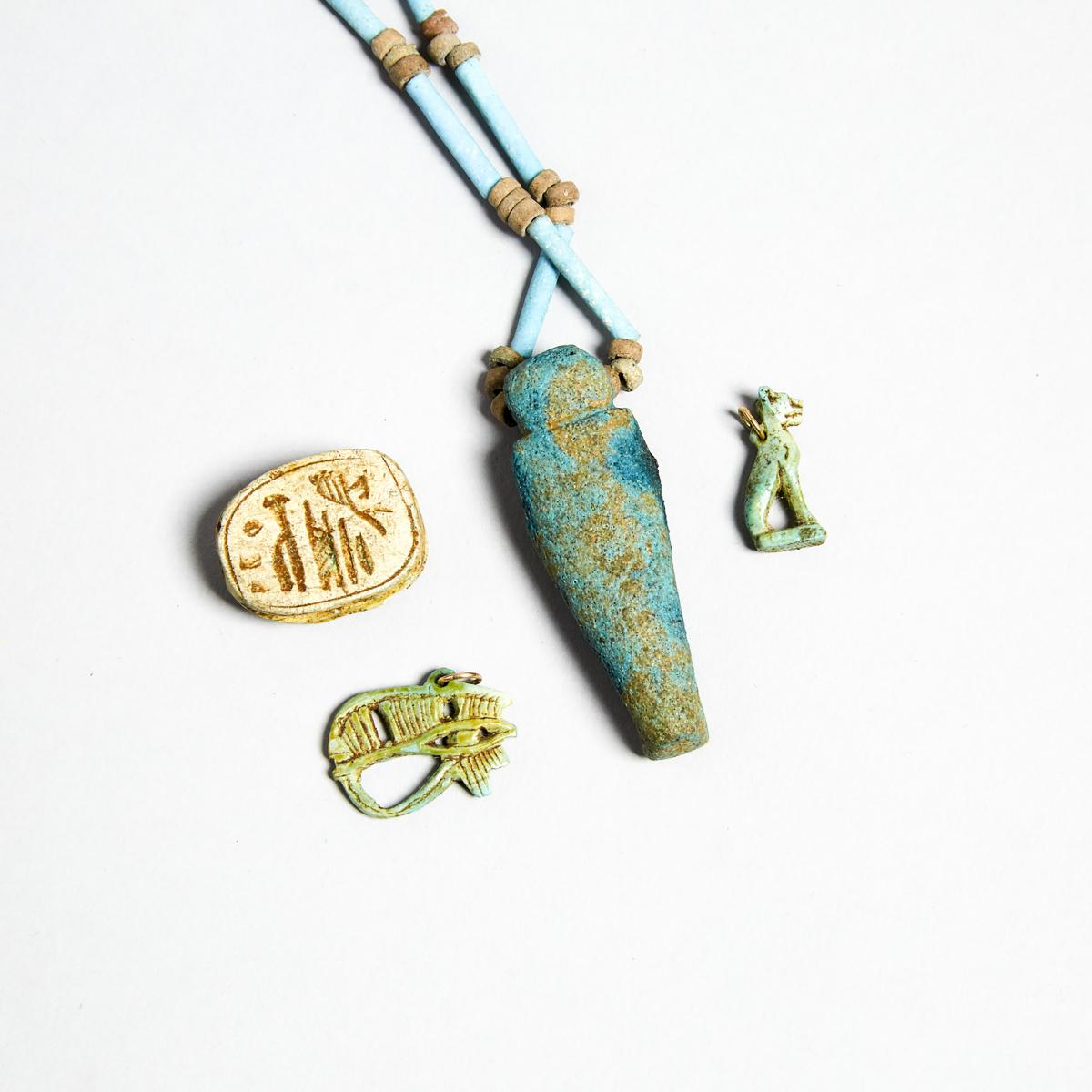 Group of Egyptian Turquoise Faience Amulets and Beads, New Kingdom to Late Period, 1550-332 B.C., sh - Image 3 of 3