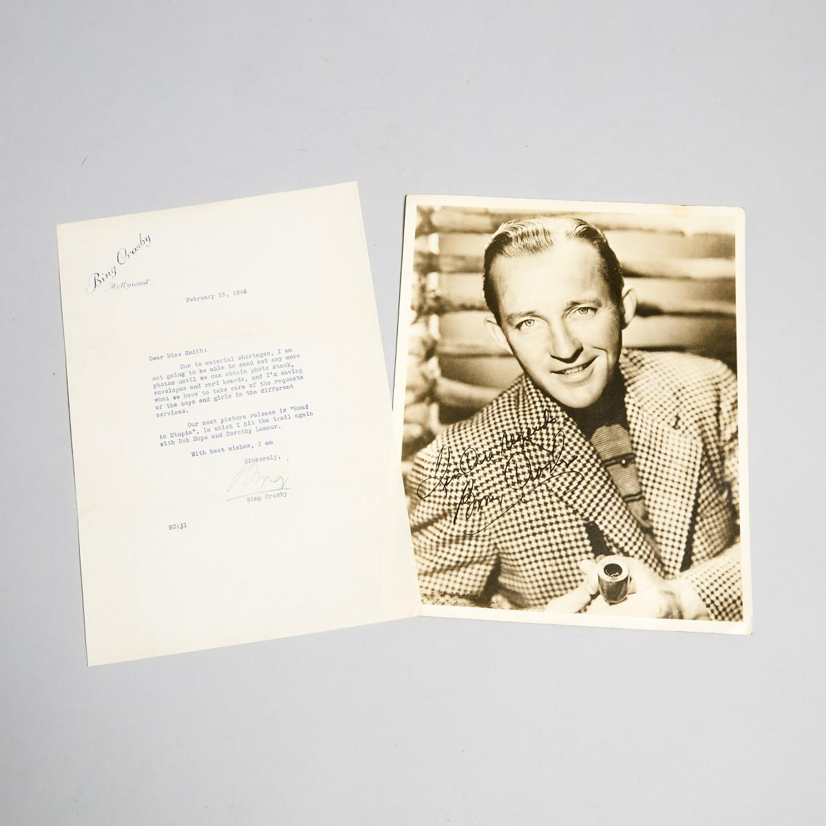 Lot 99 - Bing Crosby Autograph Letter, 1946, letter 10.5 x 7.25 in — 26.7 x 18.4 cm (2 Pieces)