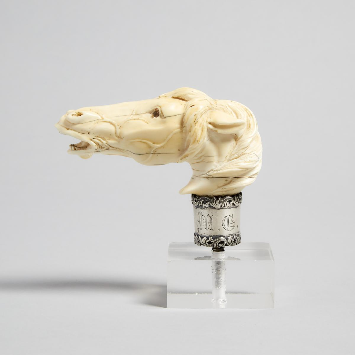 American Silver Mounted Ivory Horse Head Form Walking Stick Handle, c.1900, length 4 in — 10.2 cm - Image 2 of 3